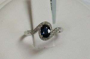 New 14K White Gold Natural Blue Sapphire and Diamond Pave Swirl Ring