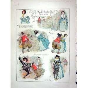 1901 COLOUR PRINT UNLUCKY AMBUSH ROBBER MAN LADY