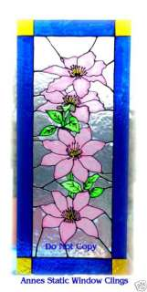 CLEMATIS STAINED GLASS EFECT WINDOW CLING /FILM DECAL