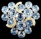 Eisenberg Signed Sapphire Blue & White Prong Set Rhinestone Brooch