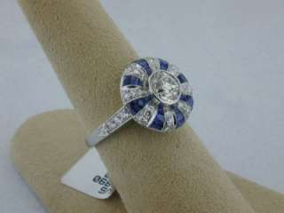 Style Platinum .89ct Old European Cut Diamond & Sapphire Ring