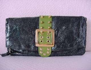 BE&D Clutch Bag Emerald PYTHON Anis Green Leather NEW