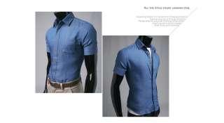 Bros mens Casual Denim Shirts Shorts Sleeve Blue .32