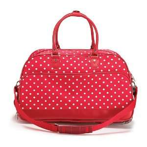 Red & White Polka Dot Rolling Suitcase Fabric Handles