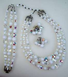 DEAUVILLE Milk Glass AB Necklace, Bracelet Earring~SET