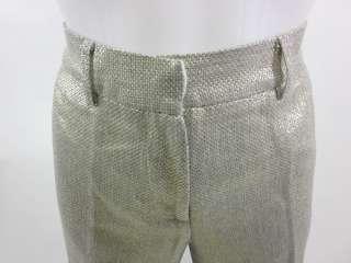TORY BURCH Metallic Gold Woven Dress Pants Slacks Sz 6