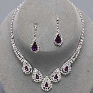 Bridesmaid Clear Crystal Elegant Costume jewelry Necklace Earrings Set