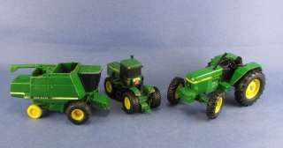 Toys John Deere 2 Tractors and 1 Combine Ertl Plastic and Metal Farm