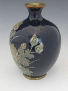 ANTIQUE JAPANESE MEIJI PERIOD CLOISONNE CABINET VASE W/ PEONY FLOWERS