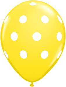 POLKA Dots Bright YELLOW and WHITE 6 Dotted Party LATEX Helium Quality
