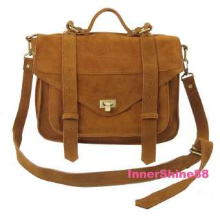 New Gossip Girl Real Suede Leather Satchel Shoulder Bag
