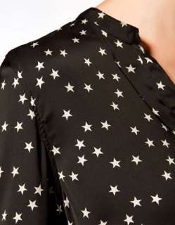 STAR PATTERN V NECK LONG SLEEVE BLOUSE SHIRT 1671