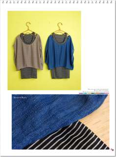 C474 Japan Fashion 2 Pieces Knitted Bubble Top Stripe Tank Top