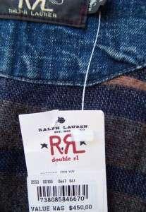 Ralph Lauren Mens RRL denim vest xl nwt $450 double rl