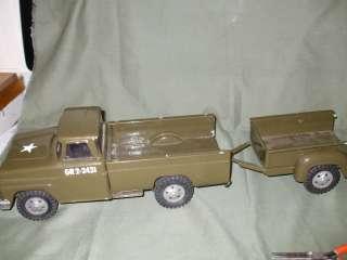 Tonka Army Truck/ trailer/restored |