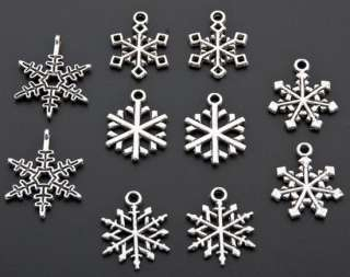 50 Assorted Tibetan Silver Christmas Snowflake Charms