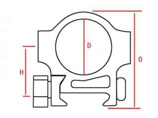 DIA 30mm Scope Rings HIGH Profile Picatinny/Weaver