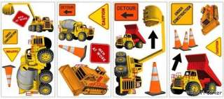 24 Big Construction Trucks Cars Boys Wall Sticker Decal