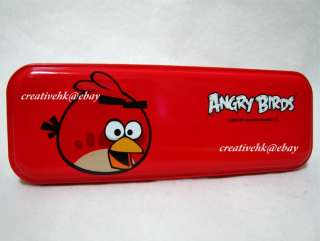 Angry Birds Red Metal Pencil Case Box Stationery NEW