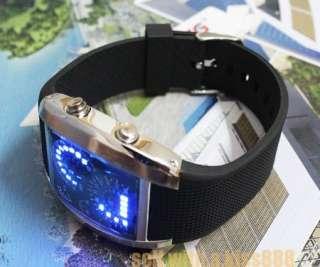 Nice Xmas Gift Blue LED Light Dot Matrix Mens Watch NR