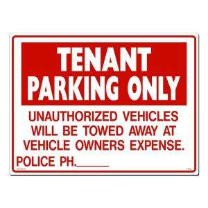 Lynch Sign Co. 24 in. x 18 in. Sign Red on White Plastic Tenant