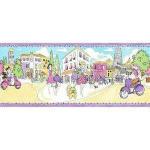 The Wallpaper Company 10.25 in x 15 ft Multicolored Ciao Bella Stripe