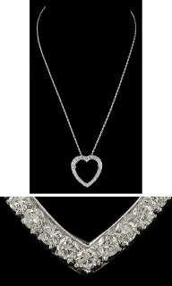 NICE 14K WHITE GOLD DIAMOND HEART PENDANT PIN NECKLACE