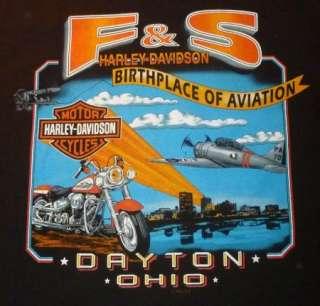 HARLEY DAVIDSON T Shirt DAYTON OHIO Vintage BLACK Motorcycle BIKER