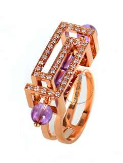 Description From Versace Cube Collection 18K Rose Gold ring features