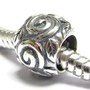 Sterling Silver Round Rose Flower Leaf European Bead Charm 9mm spb746B