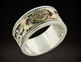 HARLEY DAVIDSON® WOMENS STAMPER® STERLING SILVER & GOLD LEAVES RING