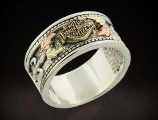 HARLEY DAVIDSON® WOMENS STAMPER® STERLING SILVER & GOLD LEAVES RING