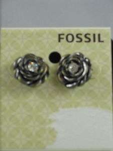 Fossil Brand Jet Rose Flower Rhinestone Stud Earrings