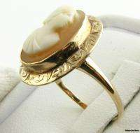 CAMEO RING   Genuine Shell 10k Yellow Gold VICTORIAN Estate Antique