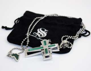 NEW Simmons Mens Stainless Steel Cross Pendant Necklace