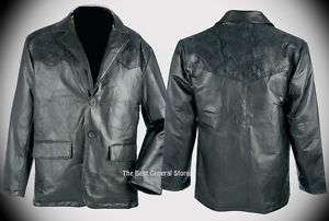Western Style Leather Sport Coat Jacket Black Mens NEW
