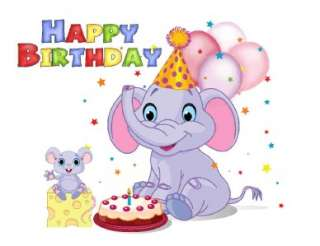 Custom Made T Shirt Happy Birthday Elephant Mouse Cheese Balloons
