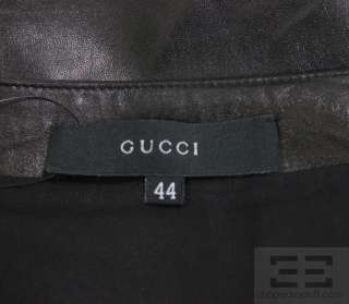 Gucci Black Leather Bow Detail Front Slit Skirt Size 44