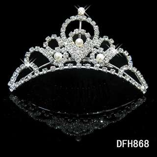 Wedding Bridal crystal veil tiara crown COMB HG0868