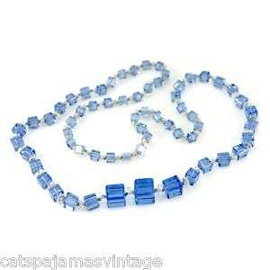 Vintage Chunky Blue Glass Square Beads Necklace 1920S