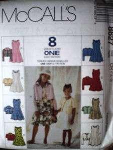 UNCUT McCalls Pattern Girls Unlined Jacket Dress 8627