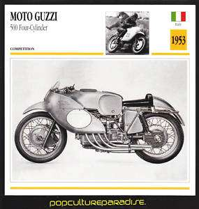 1953 MOTO GUZZI 500 Four Cylinder MOTORCYCLE PHOTO CARD