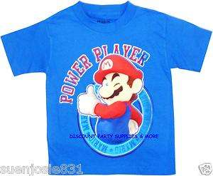 Nintendo Super Mario Brothers Mario Power Player Blue Tee T Shirt Sz 7