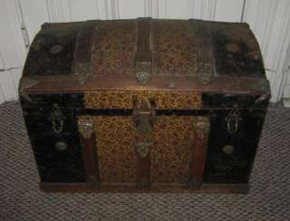 Antique Dome Top Steamer Trunk Metal Floral Pattern