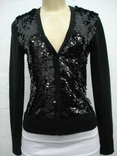 MICHAEL KORS WOMEN BLOUSE FORMAL LONG SLEEVE BLACK SEQUIN SIZE P P/L