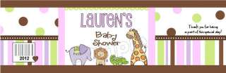 32 BABY SHOWER WATER BOTTLE Label Wrapper SAFARI JUNGLE ANIMAL Zoo