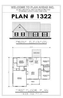 Plan w/ Garage Blueprints Design Drafting Homes Floor Plan