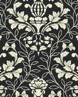 Benartex City Blooms Damask Toile Black White Fabric