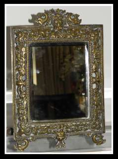 Small Antique French Bronze Mirror w Dolphins NR