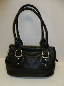 Authentic Fossil Black Leather Ladies Handbag Satchel with Key